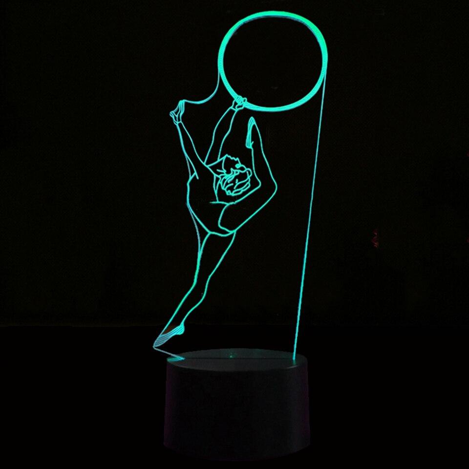3D Creative Vision Desk Lamp Gymnastics Modeling Usb Girl Birthday Decor Gifts  Led 7 Color Change 65abc28ce276