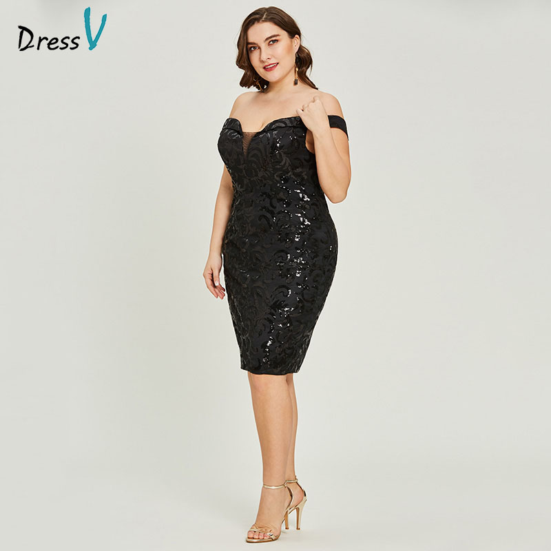 Dressv Black Cocktail Dress Plus Size Sleeveless Off The Shoulder Graduation Party Dress Elegant Fashion Cocktail Dresses