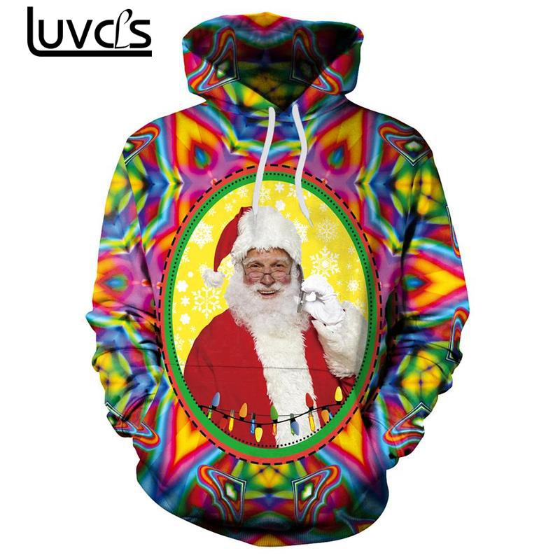 LUVCLS Santa Printing Couple Hooded Pullover Fashion Couple Men Hoodies Sweatshirts Autumn Long Sleeve Leisure Hooded Big Size