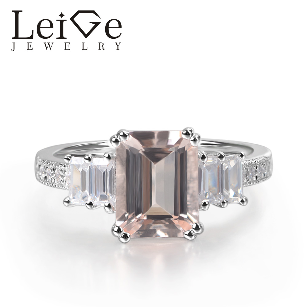 Leige Jewelry Real Morganite Ring Emerald Cut Red Gemstone Prong Setting 925 Sterling Silver for Women