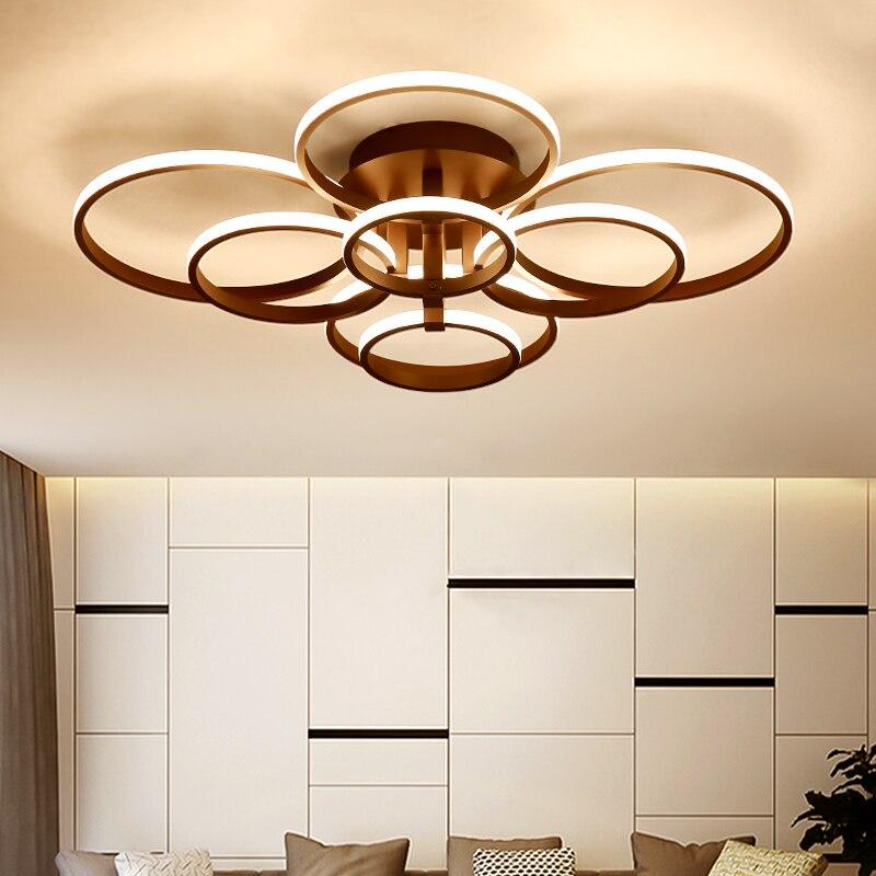 4 6 8 10 rings Brown White Modern led ceiling lights plafonnier led Ceiling Lamp For