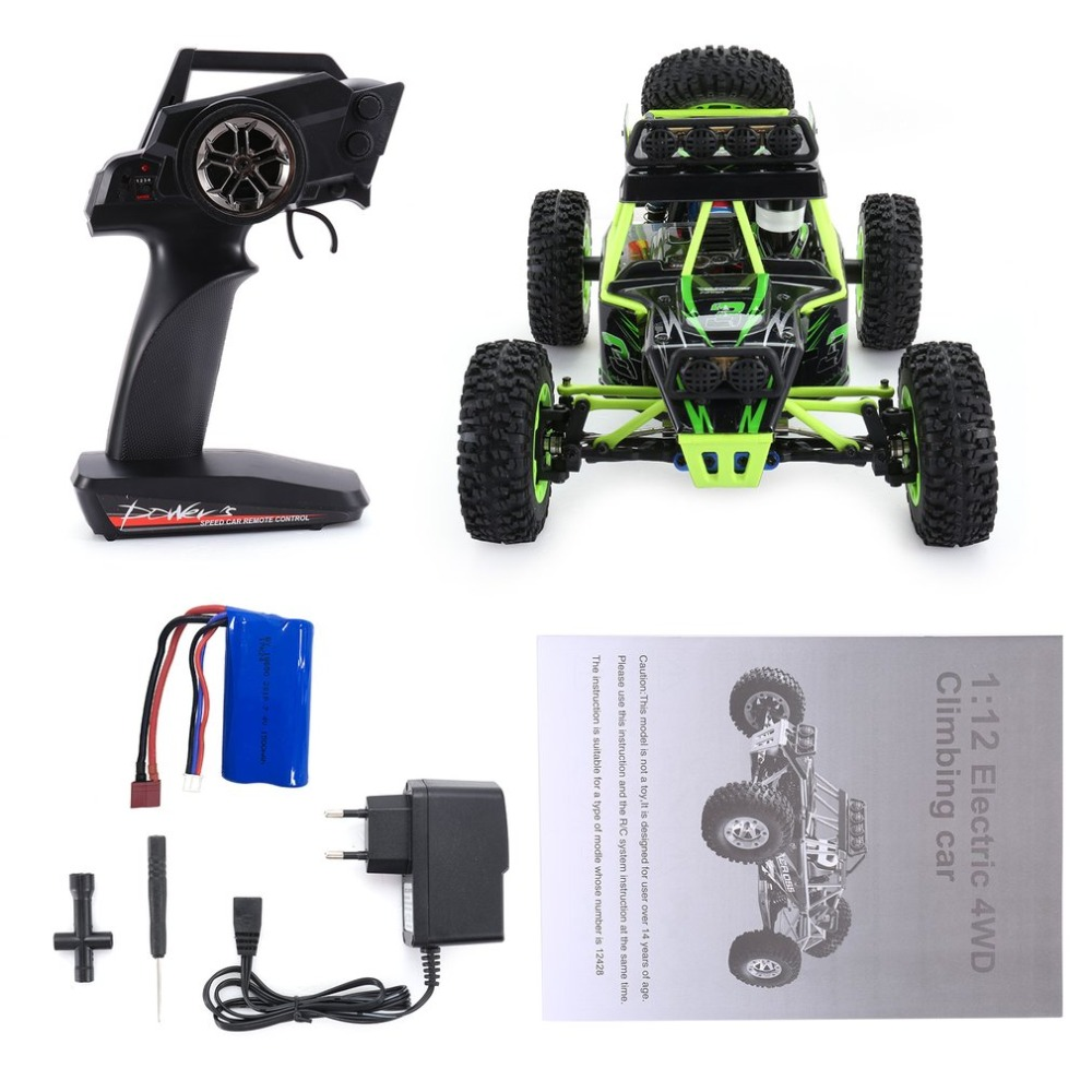 Wltoys RC 12428 1/12 2.4G 4WD High Speed 35km/h Electric Brushed Crawler Desert Truck RC Offroad Buggy Vehicle with LED Light new 7 2v 16v 320a high voltage esc brushed speed controller rc car truck buggy boat hot selling