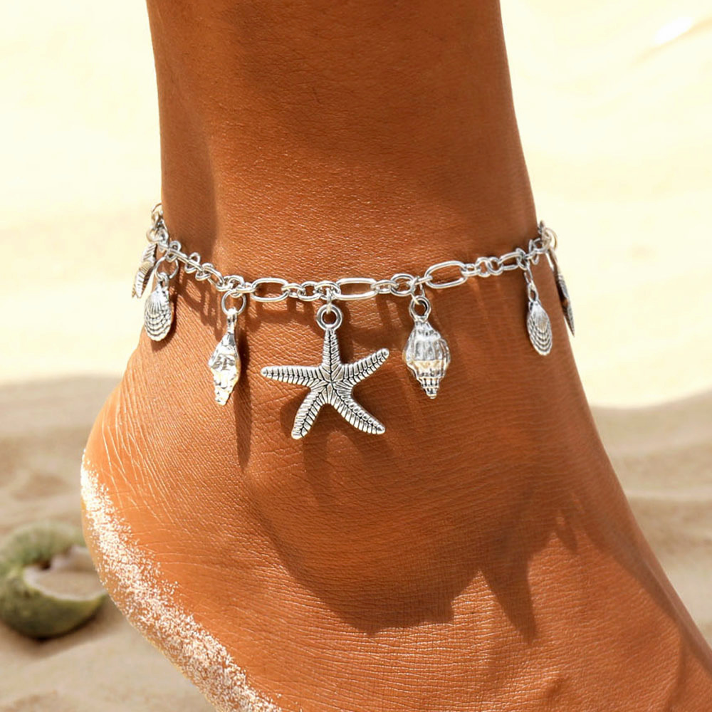 Vintage Anklets for Women Starfish Shell Pendant Anklet Summer Beach Foot Ankle Bohemian Anklet Bracelet On Leg Jewelry|Anklets|   - AliExpress
