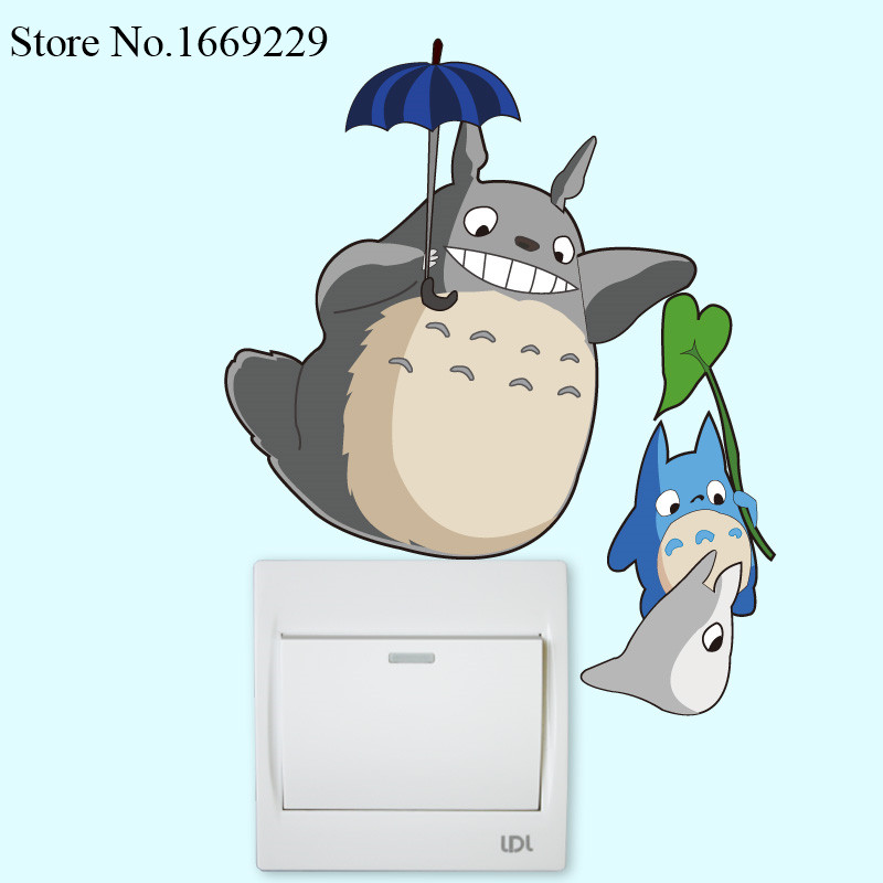DIY cute funny Totoro Switch Stickers Wall Stickers Home Decoration Bedroom Parlor Decoration