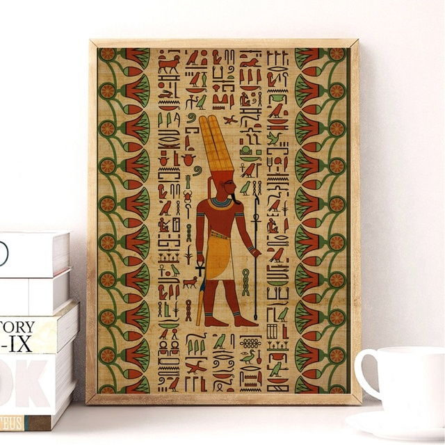 Us 7 8 35 Off Egypt Wall Art Canvas Poster Style Prints Retro Egyptian Picture Decor King Tut Queen Print Painting In Calligraphy