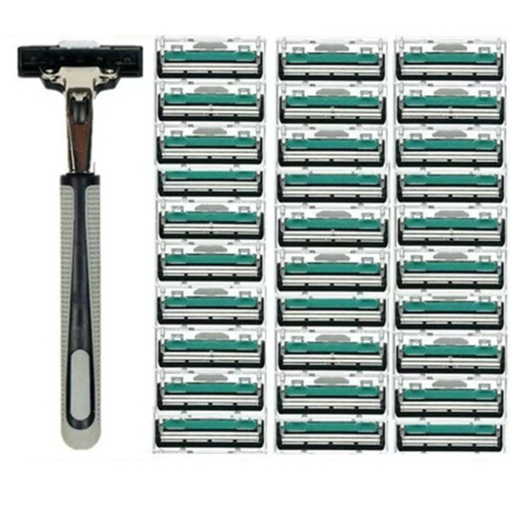 1 Handle 30PCS Double Layers Men Face Shaving Razors Blades Male Manual Razor Blades For Standard Beard Shaver Trimmer Blades