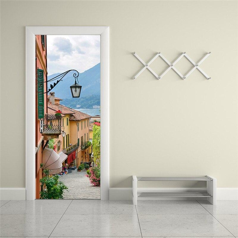3D креативные наклейки на двери, итальянские настенные наклейки на стену для ремонта, деревянные двери, спальни, гостиной, украшения
