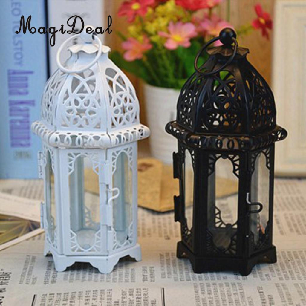 Wrought Iron Glass Wind Light Candle Holder Hanging Lantern Great for Patio Indoor outdoors Events Wedding Party image