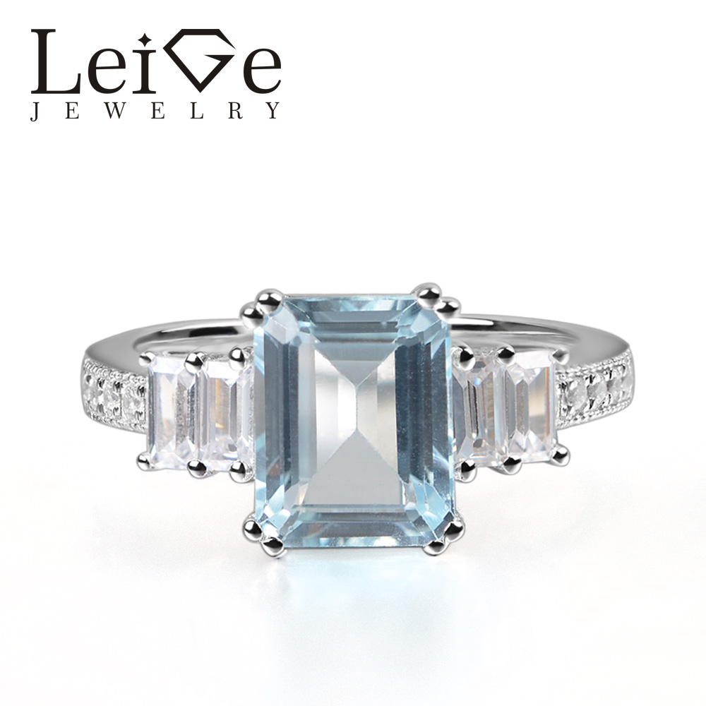 Leige Jewelry Real Aquamarine Ring Emerald Cut Prong Setting 925 Sterling Silver for Women Engagement Ring March Birthstone цена