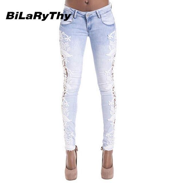 e1c023e34def BiLaRyThy Venda Quente Jeans Mulheres Cintura Baixa Renda Retalhos de  Algodão Elástico Calças Jeans Casual Calças