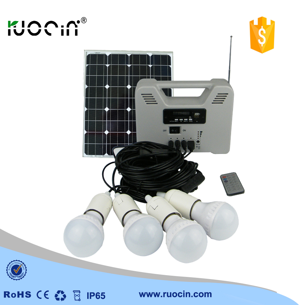 radio function FM band 6W bulbs solar home emergency light home ...