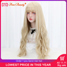"32"" Cosplay Blonde Wig With Bangs Long Wave Synthetic Hair Custom Party Cosplay Lolita Wigs For Black/White Women Heat Resistant(China)"