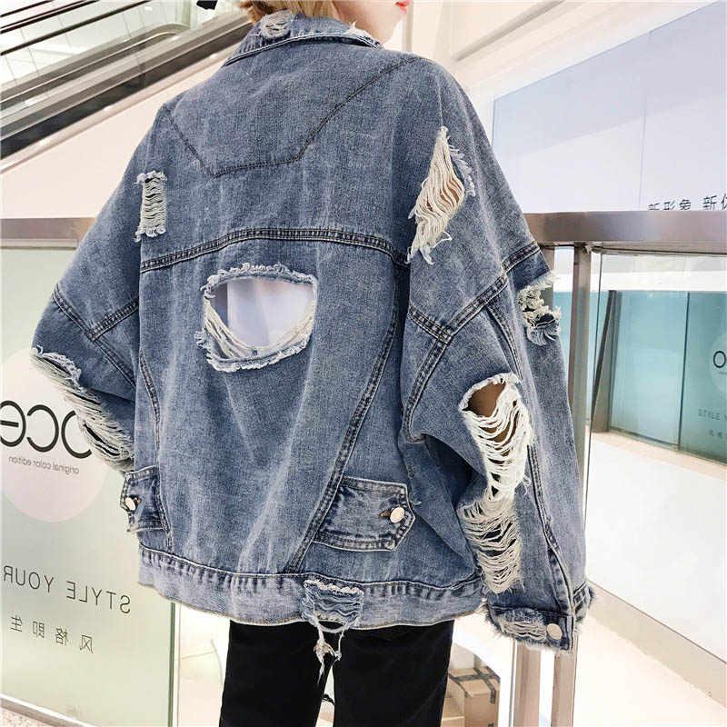 Весна-Осень 2018, верхняя одежда с длинными рукавами, женская джинсовая куртка, парка, пальто, рваные карманы, негабаритная женская одежда
