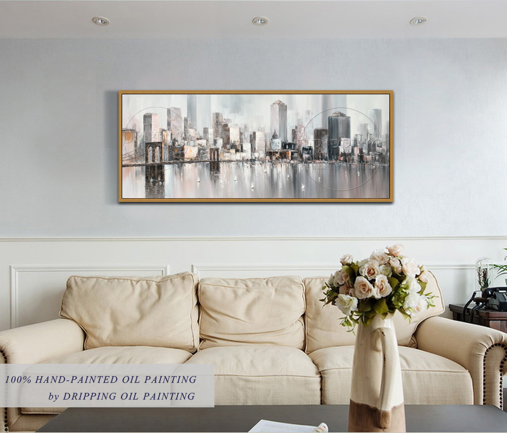 Top Artist Hand-painted High Quality Abstract Cityscape Big Building Oil Painting on Canvas Abstract Skyscrapers Oil Painting