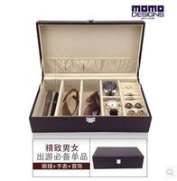 wood structure leather 3 grid sunglasses box glasses storage box leather watch box ring box for makeup organizer YJ013