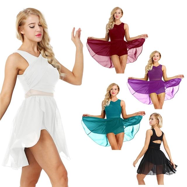 Kadın Kolsuz Cut Out Asimetrik Şifon Bale Dans Leotard Elbise Yetişkin Lirik Modern Dans Uygulama Kostümleri
