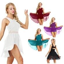 Women Sleeveless Cut Out Asymmetric Chiffon Ballet Dance Leotard Dress Adult Lyrical Modern Dance Practice Costumes