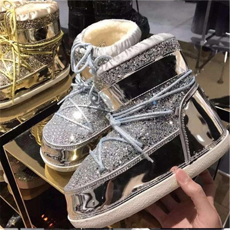 Plana Feminina Ojos De Zapatos Botas Bling Mujer Show Cruz Color As Bota Show atado Lana Nieve Mixed Caliente Tobillo Acogedor as Corto T46qwq7