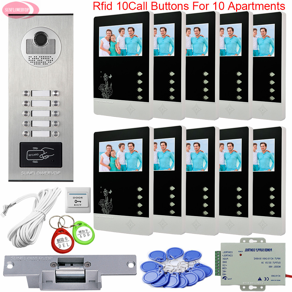 Door Phone With Lock Access Control Intercom Handset To The  Apartments Video Intercom 10 Monitors Intercoms For Private Homes