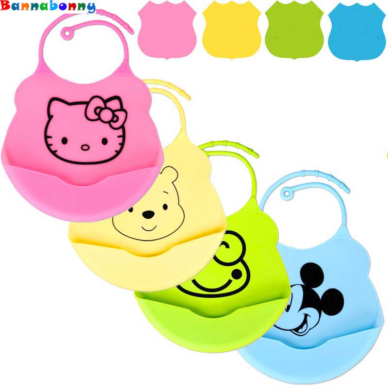 4PCS/Lot Cute Cartoon Design Baby Bibs Waterproof Silicone Feeding Baby Saliva Towel Newborn Cartoon Waterproof Aprons Baby Bibs