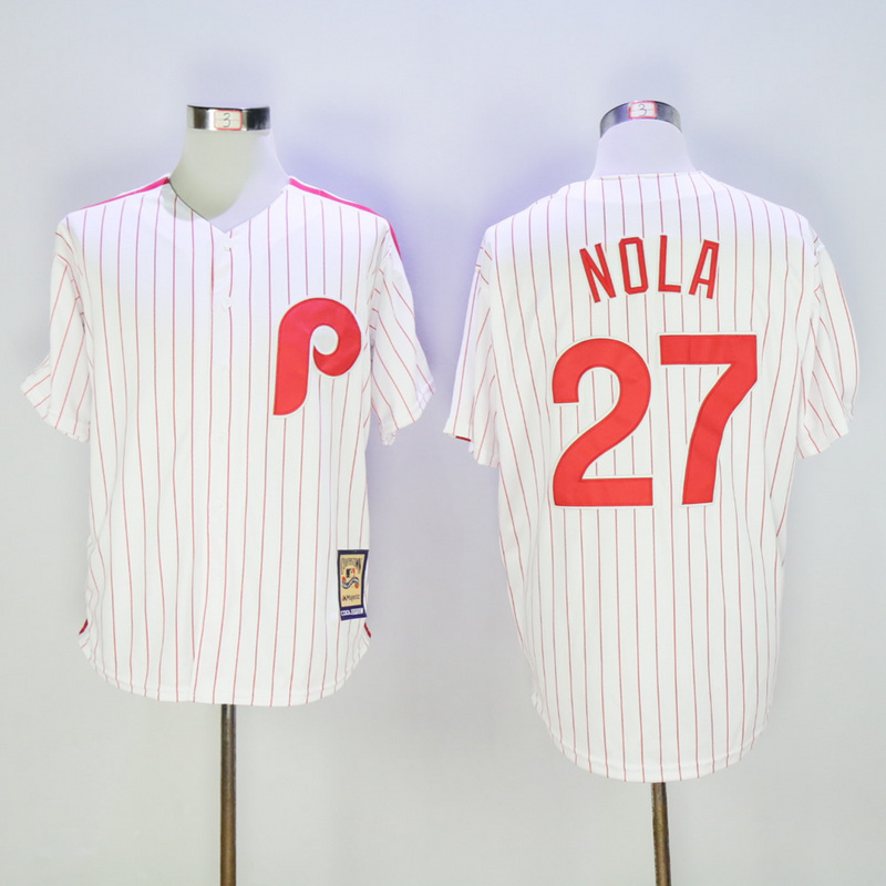 Mens Philadelphia Phillies Aaron Nola Coopertown Fully Stitched Throwback Baseball Jersey