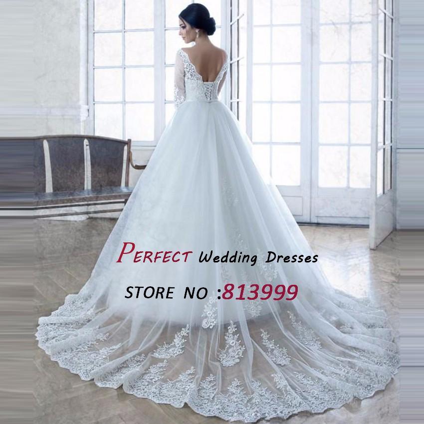 Romantic-Elegant-Tulle-Long-Sleeve-Lace-Wedding-Dresses-Turkey-vestidos-de-novia-robe-de-mariage-mariee$126