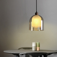 Nordic restaurant decoration single head brown glass chandelier modern creative solid wood LED lighting frosted glass lamp