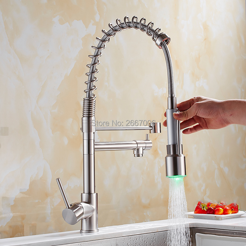 GIZERO LED Sprayer Pull Down Kitchen Faucet Dual Spouts 360 Swivel Handheld Shower Kitchen Mixer Crane Brushed Spring Tap GI2106 modern led changing deck mount brushed nickel spring kitchen faucet dual swivel spouts mixer tap