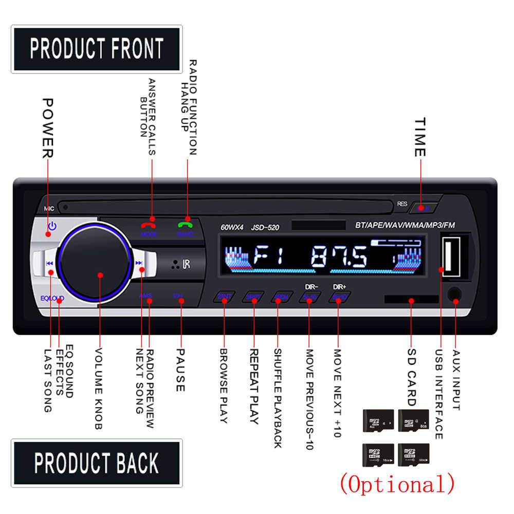 Podofo Autoradio JSD-520 12V In-dash 1 Din Bluetooth Auto Radios SD MP3 Player Auto Audio Stereo FM empfänger Aux Eingang