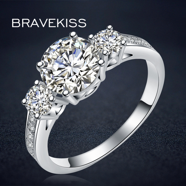 BRAVEKISS new cz stone accent engagement solitaire rings for women wedding bands