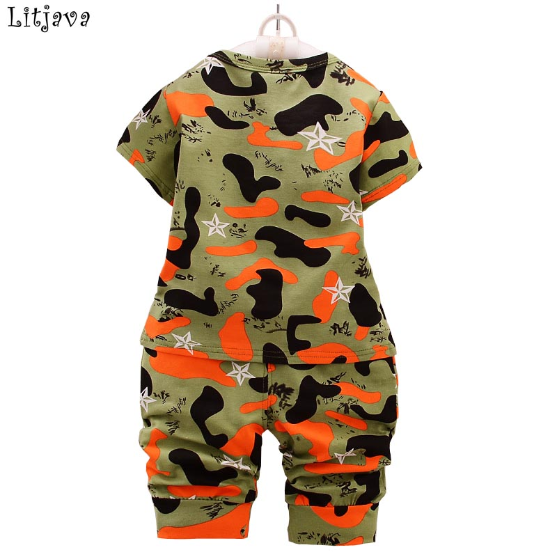 2PCS/Lot 2018 Lastest Cool Baby Clothing Boy Set Kids Boys Summer Camouflage T-shirt Pants Fashion Suit Short Sleeves Bodysuit