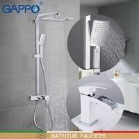 Grifos de bañera para grifo de ducha mezclador de lavabo cromado pared blanca para baño grifo de agua mezclador de lavabo juego de grifo de Ducha