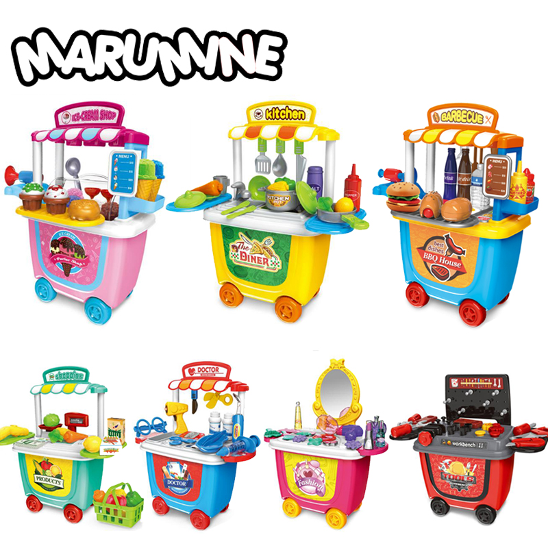 Marumine Kids Pretend Play Toy Doctor Set Tool Toys Kitchen Play Foods Supermarket Educational Gift For Kids Girls Boys