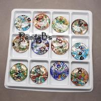Handmade Silver Foil Lampwork Pendants With Gold Sand Flat Round Mixed Color 41x10mm Hole 5mm 12pcs