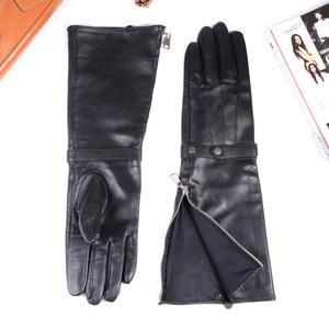 Image 5 - 40cm Mens Black Sheepskin Real Leather Medieval Renaissance Long Cuff  Zipper Knight Gauntlet Elbow Long Gloves