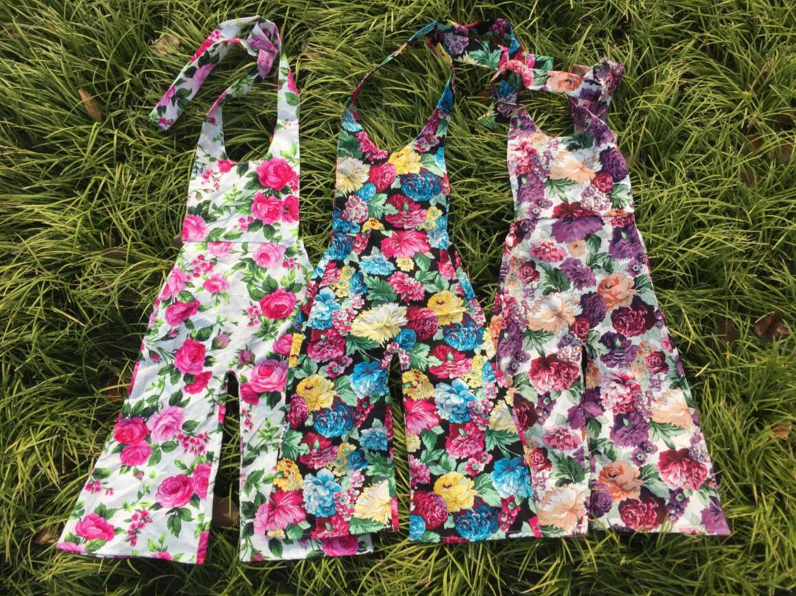 2017 summer girl overalls european America style toddler girl print floral clothings fashion rompers