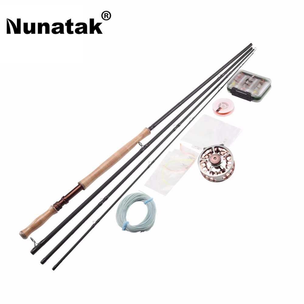 Nunatak  Fly Fishing Set Rod Combo Maxway Honor 9/10 3.9M  Rod + Fishing Reel + 24 pieces Fly Lures + Lure Box free shipping 5 6 4 segments sections fly fishing rod full metal reel water proof rod bag lines box lure set kit