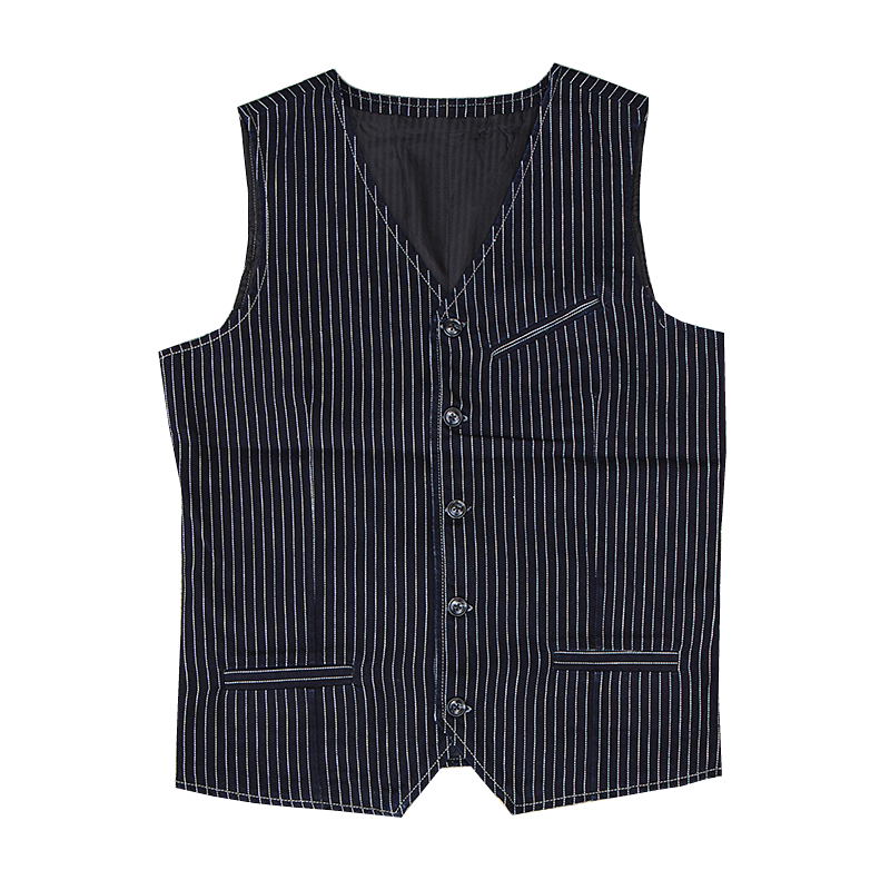 Read Description! Asian size vintage railway stripe vest mens casual vest mj-001