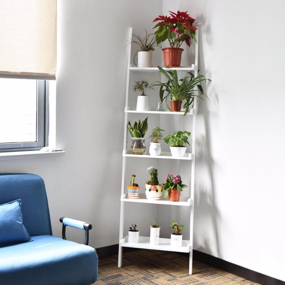 5-Tier Estante Inclinada Parede Planta Prateleira escada de armazenamento Display Estante Home