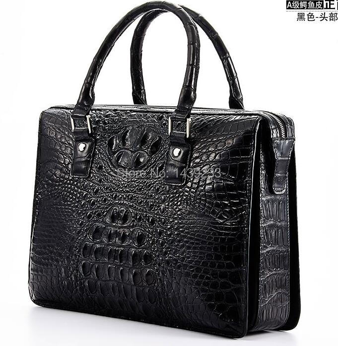 все цены на Tailand Import 100% Genuine/Real Crocodile Skin Men Briefcase Laptop Bag, Top Luxury Men Business bag Black, Free Shipping онлайн