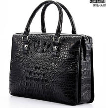Tailand Import 100% Genuine/Real Crocodile Skin Men Briefcase Laptop Bag, Top Luxury Men Business bag Black, Free Shipping