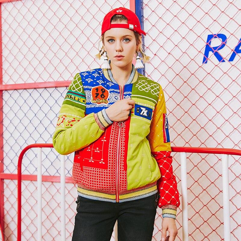 Longues Le Femmes Impression Mode Picture Survêtement Z937 Patchwork Nouveau Bas Jakcet Lâche Hiver Vers Automne De Color Pardessus Manches Dames 2019 Parkas Occasionnel wUz8Xqq