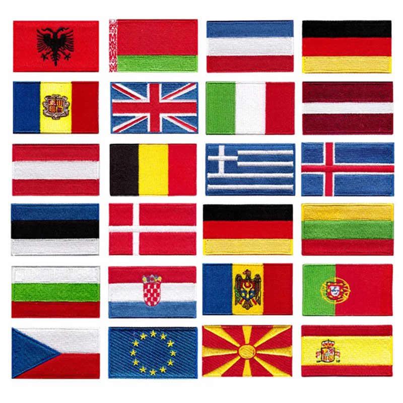 France broderie drapeau prix de gros monde falg fer sur coudre sur 100% broderie emblemas Jeans vêtements gauche poitrine manches casquettes