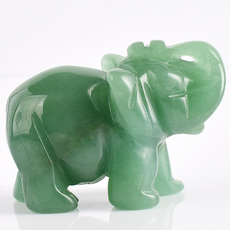 2 Inch Elephant Figurines Craft Carved Natural Stone Green Aventurine - Home Decor - Photo 1