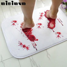 Creative Blood Bath Mat Bathroom Water Slippery Toilet Carpet Floor Mats Terrorist Bloody Footprints Cool Funny Rug Kitchen