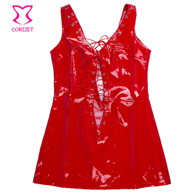 Deep V Neck Lace Up Sleeveless Backless Short Red PVC Fetish Dress Club Wear Latex Rubber Dresses Hot Sexy Erotic Lingerie Women 9