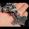 Popular Personality Big Thor Hammer Pendant 316L Stainless Steel Polishing Cool Men Silver Biker Pendant