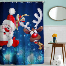 Zipsoft Bathroom Shower Curtains Christmas Rideau De Douche Cartoon Eco Friendly For Holiday Celebrations Waterproofing