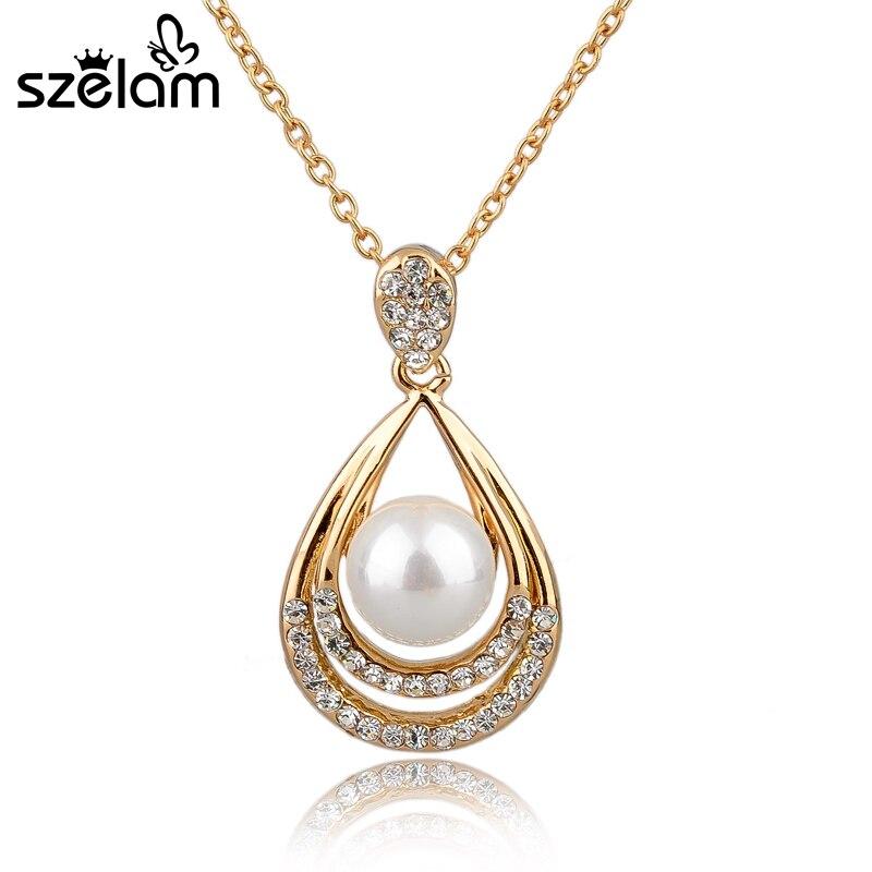 Luxury Elegant Water-drop Pendant Necklace Gold Chain Necklace Austrian Crystal Pearl Necklace For Women SNE140386 Ювелирное изделие