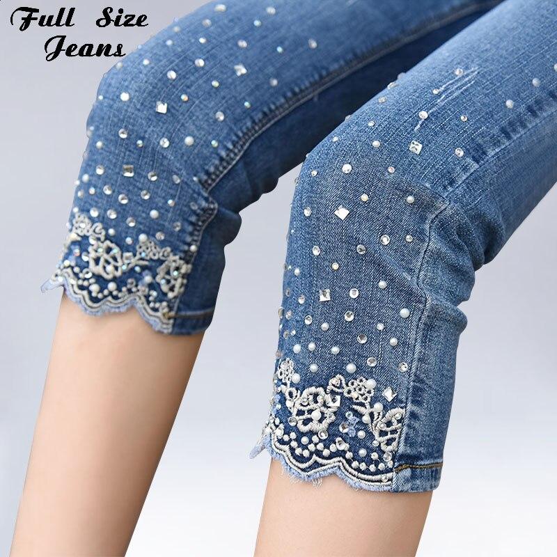 Plus Size 2018 New Women Embroidery Beading Stretch Jeans 4XL 5XL Summer Hight Waist Calf Length Pencil Pants